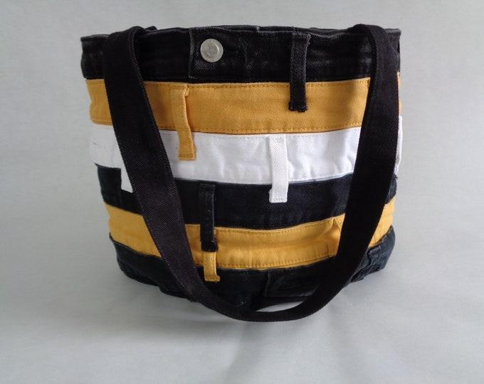 Black and Gold Striped Denim Purse