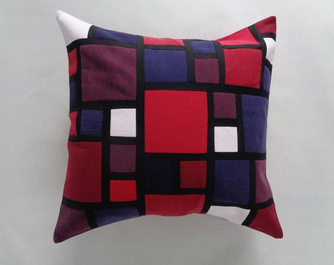 Red Geometric Stained-glass Denim pillow Cover