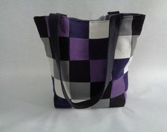 Purple, Black and Gray Patchwork Denim Purse