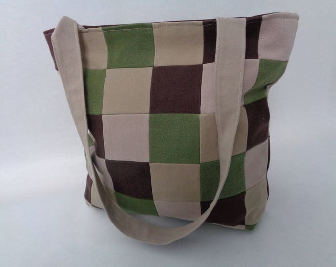 Green and Brown Denim Patchwork Purse