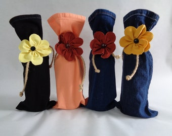 Country Chic Denim Wine Gift Bags