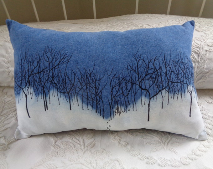 Winter Trails Painted Pillow