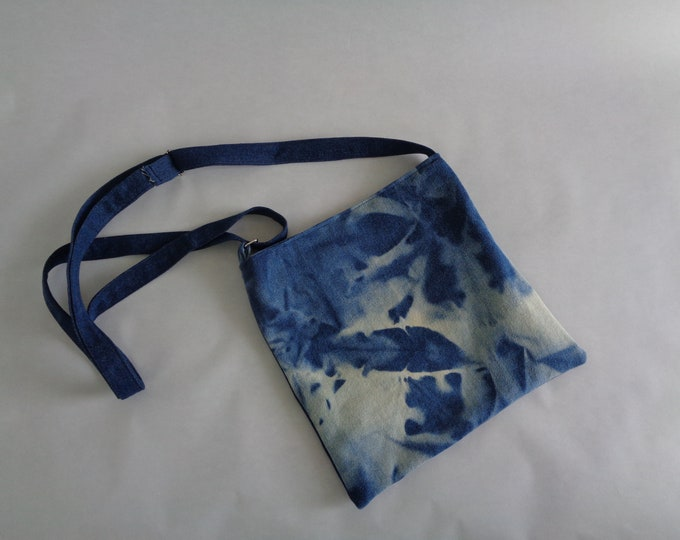 Blue Bleached Denim Cross-body Purse
