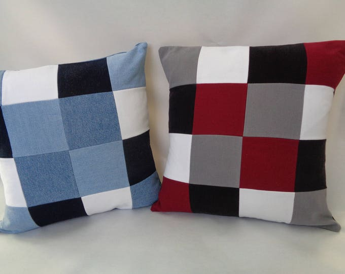 Checked Denim Pillow Cover