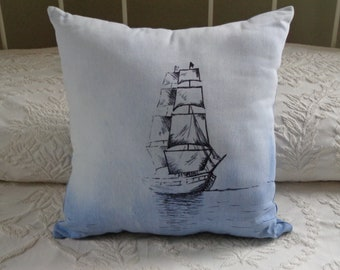 Hand-drawn Flagship Niagara Nautical Pillow