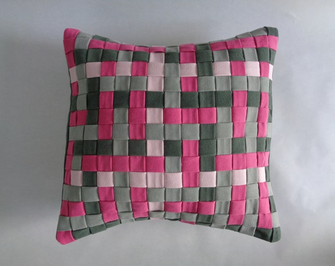 Pink and Green Denim Pillow Cover
