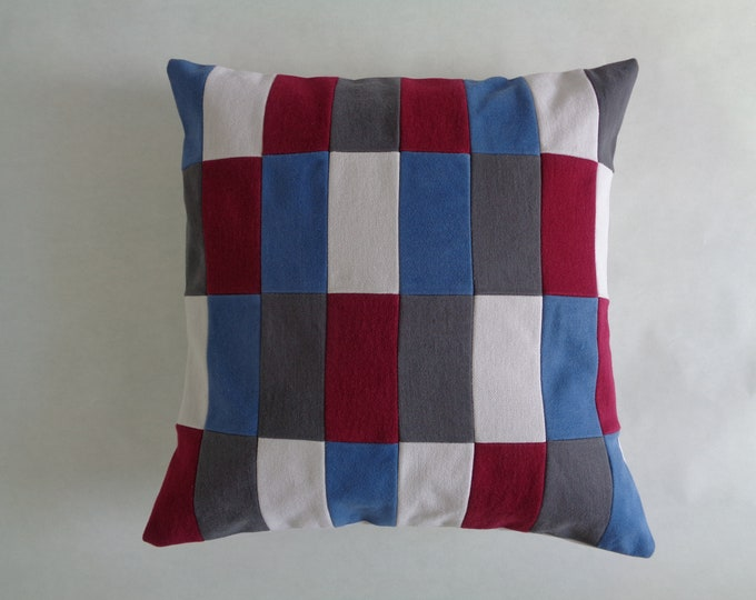 Blue and Red Geometric Pillow Cover