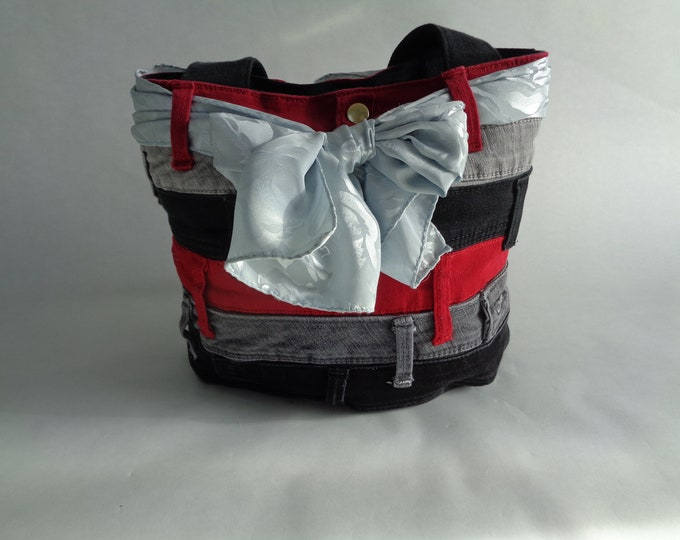 Red and Black Upcycled Denim Purse