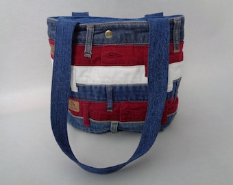 Red, White and Blue Striped Purse