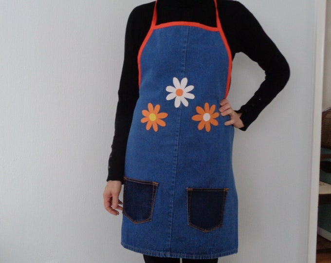 Women's Floral Denim Apron