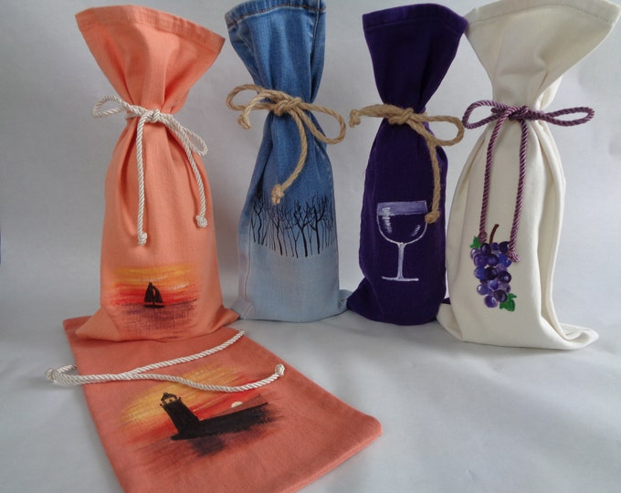 Hand-Painted Wine Gift Bags