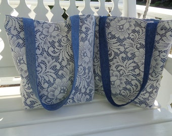 Blue Denim and Lace Purse