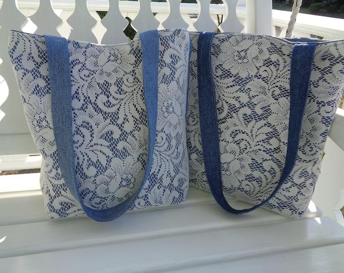 Blue Denim and Lace Purse