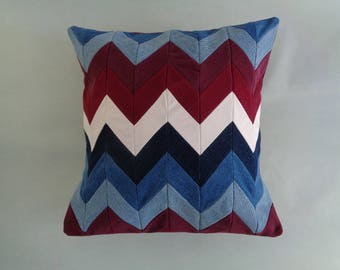 Red and Blue Chevron Decorative Pillow Cover