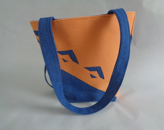 Blue & Orange Geometric Purse