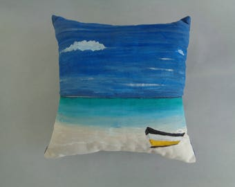 Hand-painted Beachscape Denim Pillow
