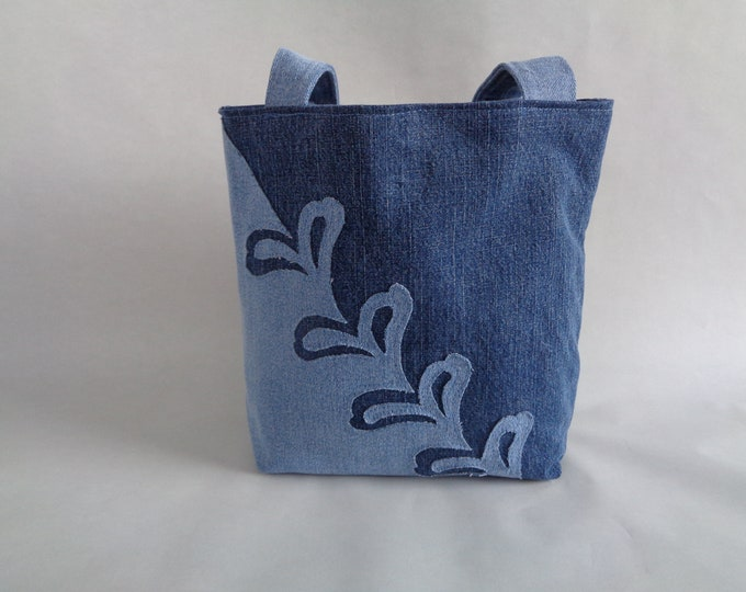 Stencil-look Upcycled Denim Purse