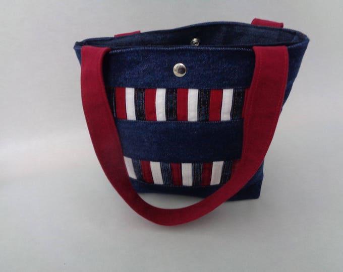 Red, White and Blue Denim Handbag
