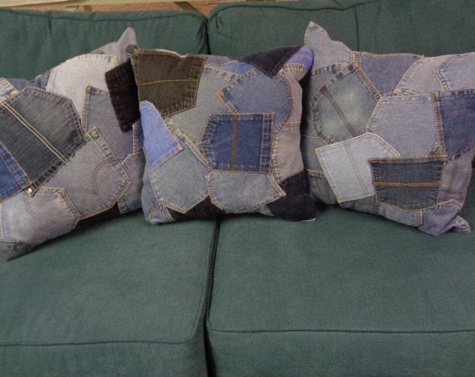 """18"""" Pillow, Denim Pocket Pillow, Boy's Room,  Graduation Gift"""