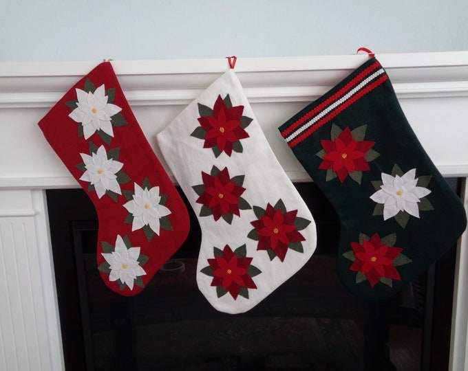 Poinsettia Christmas Stocking