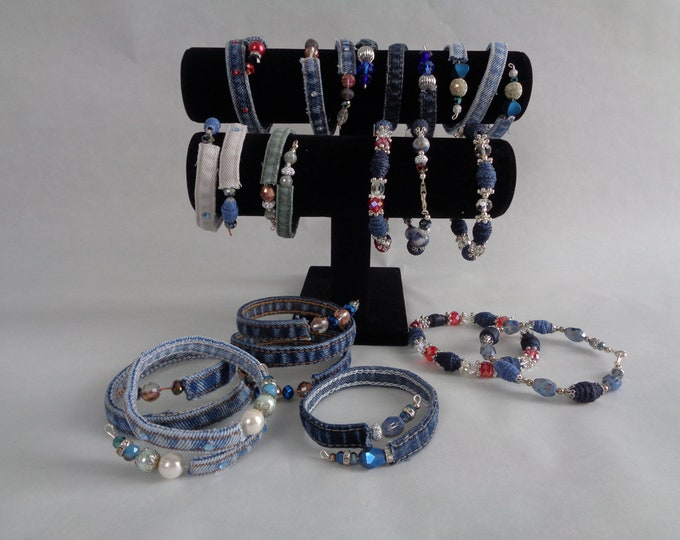 Country Chic Bracelets, Denim Wrap Bracelets,  Bangle Bracelets