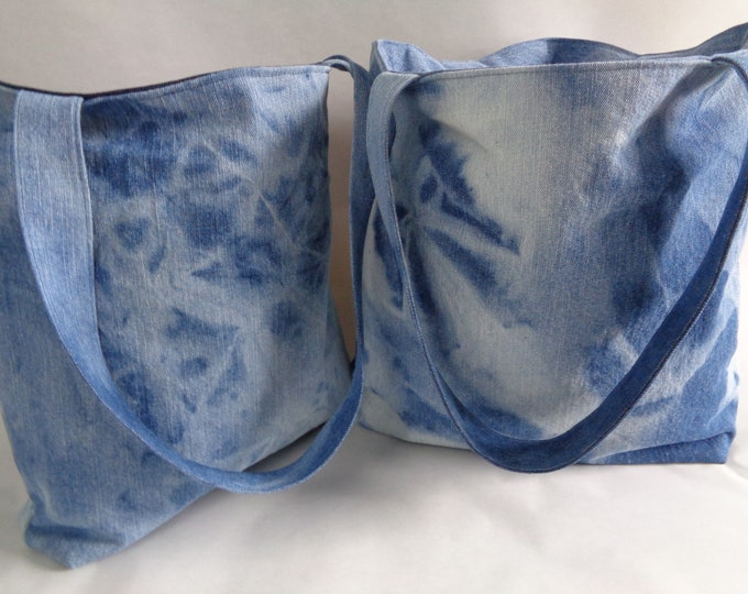 Bleached Denim Tote Bag