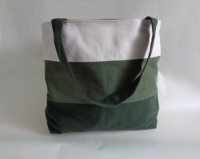 Large Green Denim Tote Bag