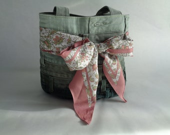 Green Upcycled denim purse