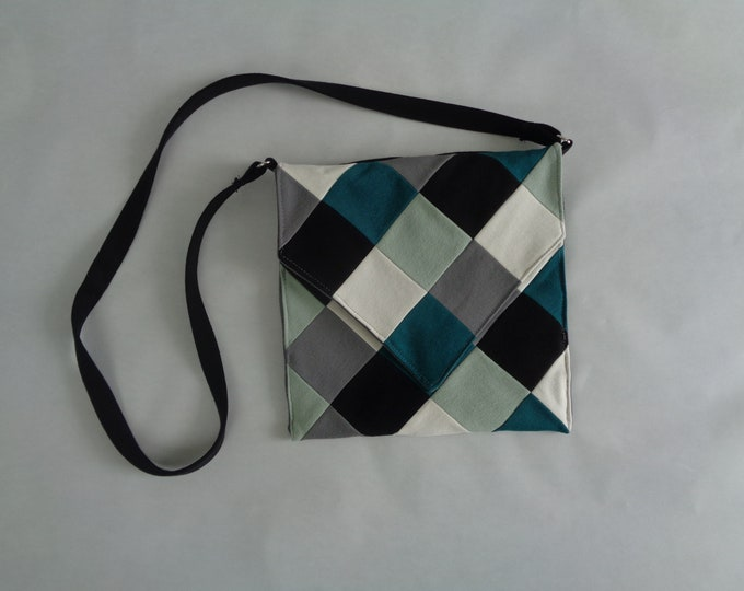 Green Geometric Denim Crossbody Purse