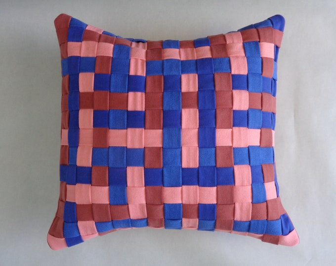 Peach and Blue Decorative Pillow Cover