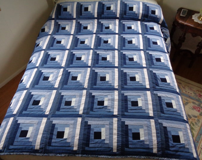"""72"""" Upcycled Hand-made Blue Denim Quilt"""