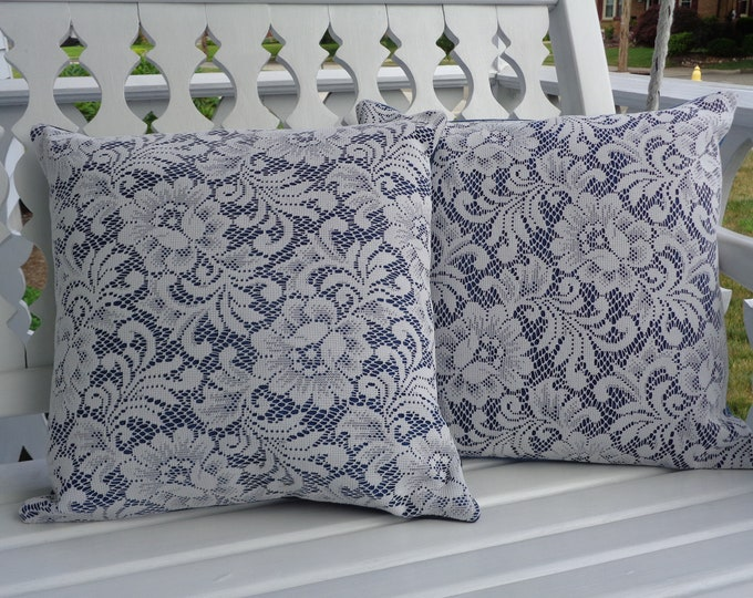 Denim and Lace Pillow Covers