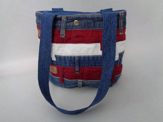 Red White And Blue Purse Upcycled Denim Purse Patriotic Etsy