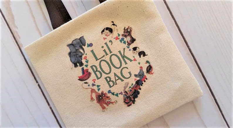 Book tote,Doll library bag,Doll purse,Book tote for dolls