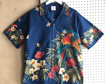 Vintage Parrot Hibiscus Short Sleeves Floral Hawaiian Shirt
