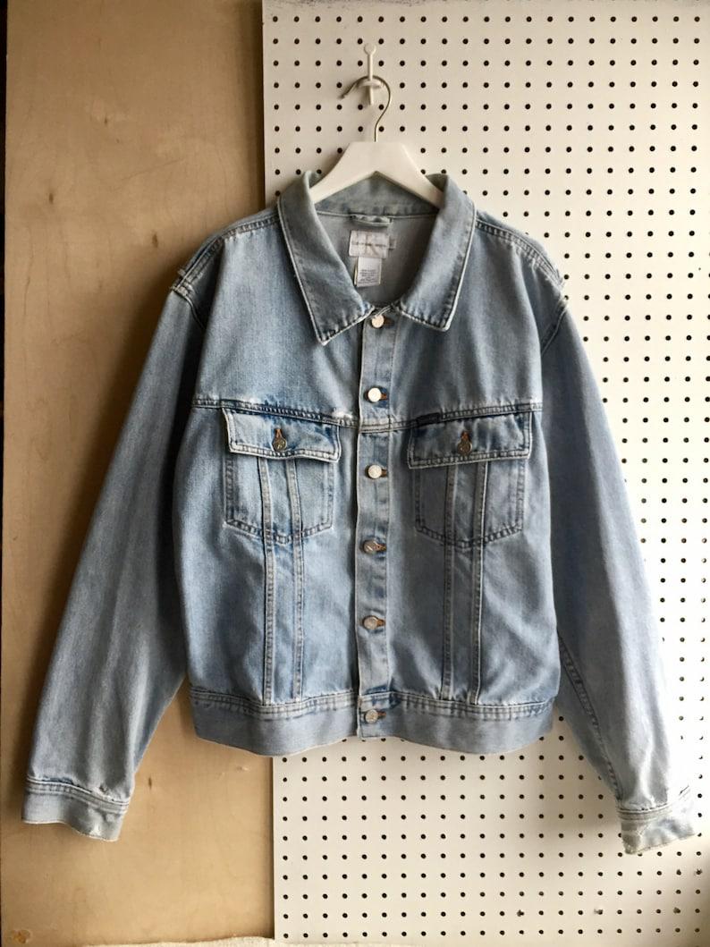78cb28429bc Vintage CK Calvin Klein 90s Distressed Denim Jacket