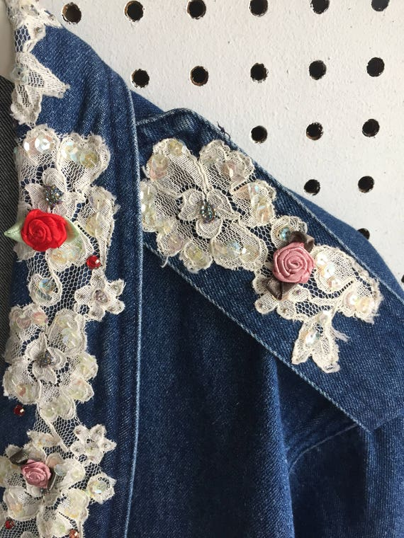 e3f457cc928d1 90s Unique Lace Sequins Ribbon Rose Embroidery Studded Loose Fit Oversized  Denim Jeans Jacket
