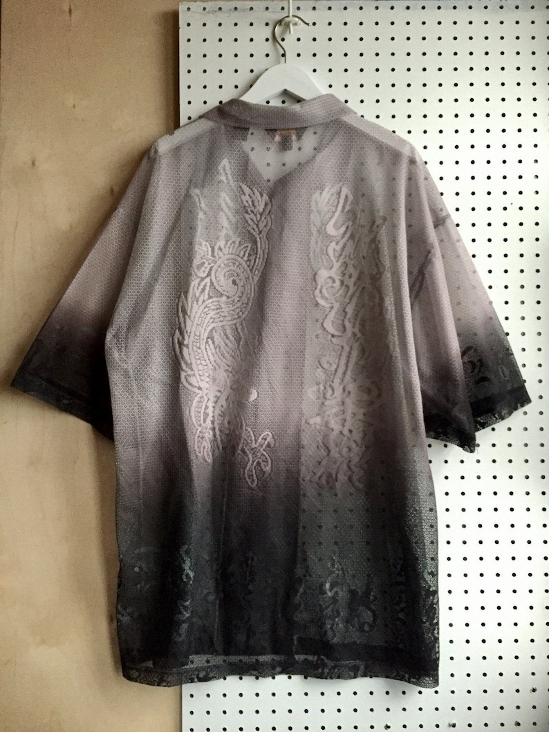 90s Gray Ombre Intricated Mesh Lace-like Asian Chinese Calligraphy Oversized Loose Fit Short Sleeve Shirt