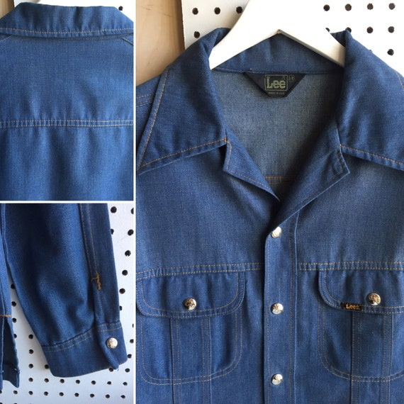 95c40130f9 Vintage LEE Chambray Lined Denim Snaps Button-Down Shirt