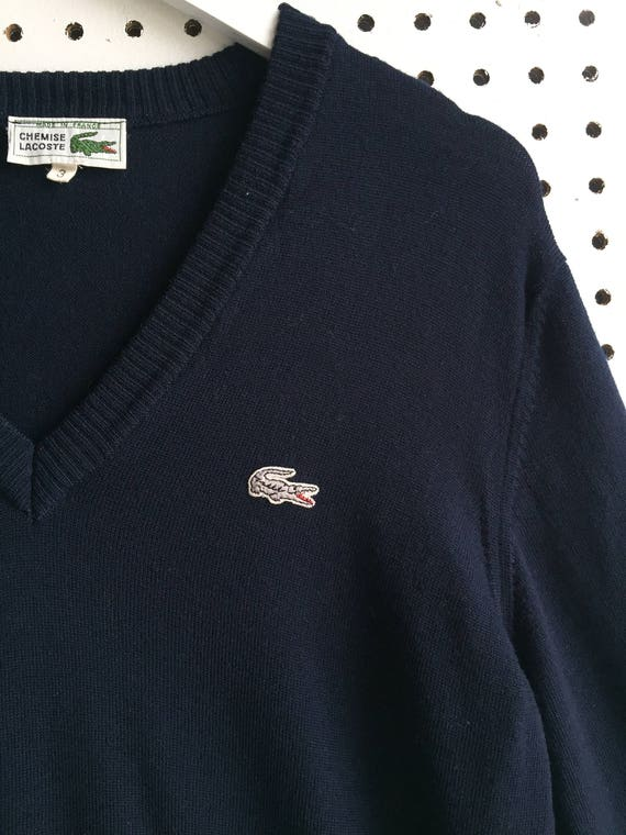 exclusive deals good official shop Vintage Chemise Lacoste Made in France Navy V-Neck Merino Wool Sweater  Jumper Size 3