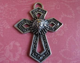 Large Vintage Ethnic Pewter Cross Pendant