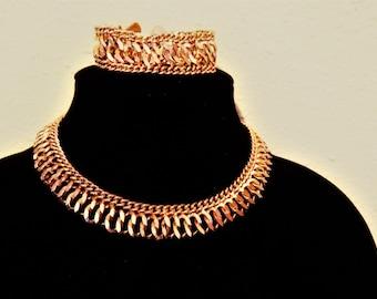 Vintage Bold Chain Link Choker Necklace Bracelet Demi Parure