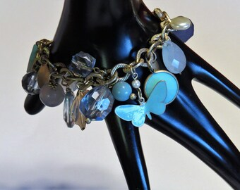 Vintage Cha Cha Charm Bracelet Blue Beads Charms