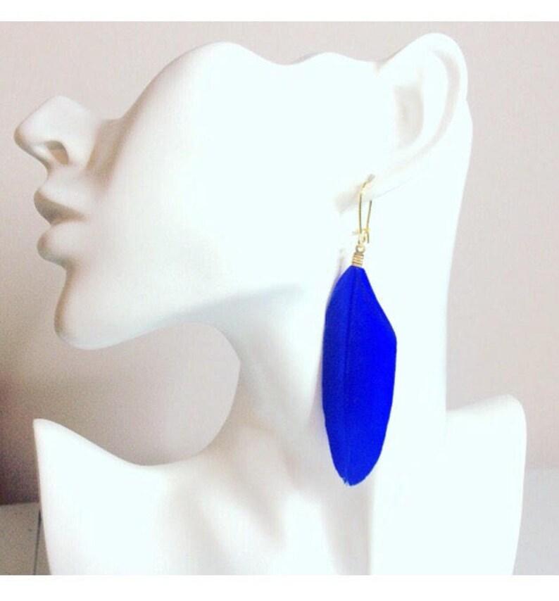 Blue Earrings Feather Earrings Bohemian earrings Long Gold Dangle Earrings Boho Chic Tribal Jewelry Gold Earrings Feathers Canada
