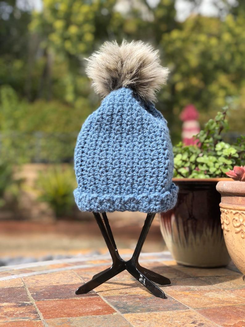 The Bridgette In Wedgewood blue crochet slouchy or cuff  beanie with  gray faux fur pom pom