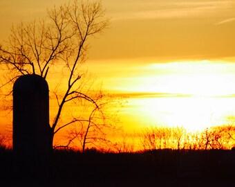 Silhouette Silo Sunset