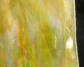 Stained Glass Sheet, 8 quot x 6 quot - Opal Yellow and White Iridized (Armstrong 17 SR Irid)