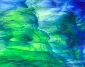 Stained Glass Sheet, 8 quot x 6 quot - Blue, Green and White (Kokomo 142 ML)