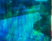 Stained Glass Sheet, 8 quot x 6 quot - Cobalt Blue and Green Streaky (Armstrong 4233 S)