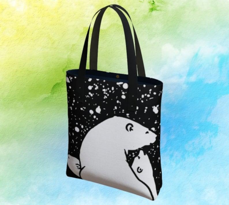 Women Large Tote Top Handle Shoulder Bags Bear Polar Family Snow Satchel Handbag